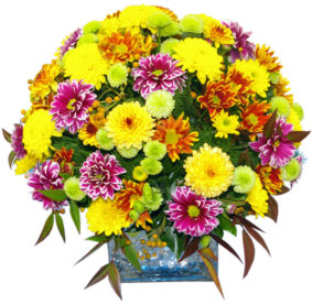 Glass vase with autumn flowers